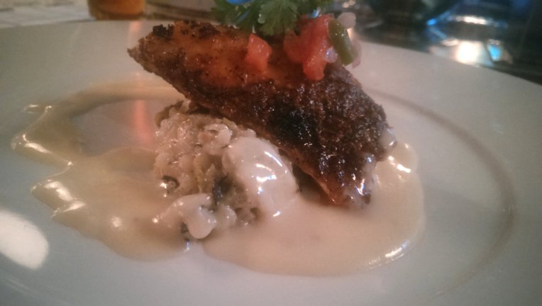 Blackened red snapper with Hatch chile risotto (fontina) and a lemon burre blanc