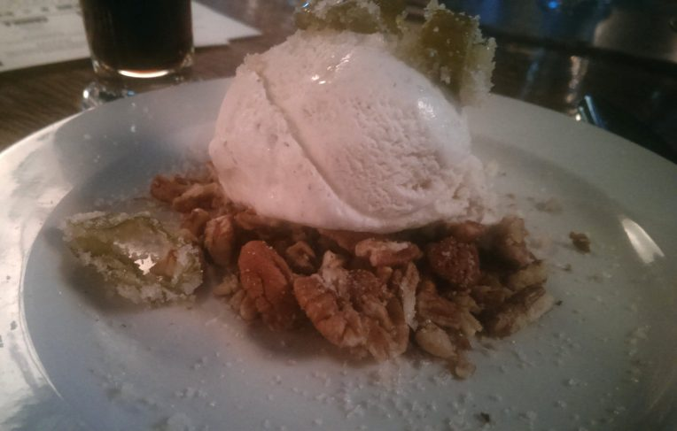 Vanilla bean ice cream with candied Hatch chiles and crushed pecans